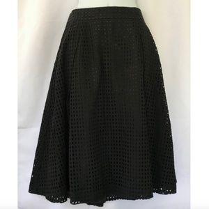H&M Black Eyelet Midi Skirt
